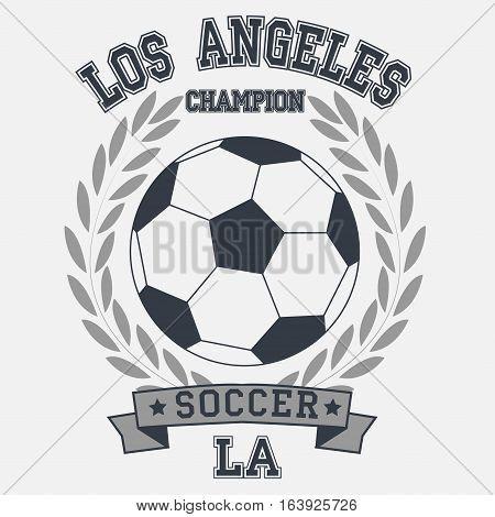 soccer badge los angeles champion t-shirt - vector
