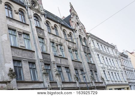 Unrenovated historic houses in the town of Goerlitz, Germany