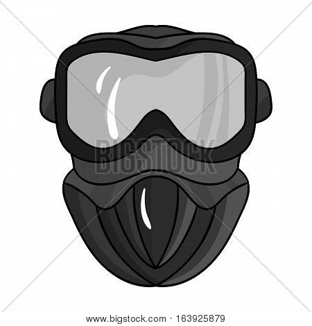 Paintball mask icon in outline design isolated on white background. Paintball symbol stock vector illustration.