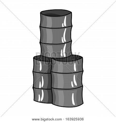 Barricade from barrels icon in outline design isolated on white background. Paintball symbol stock vector illustration.