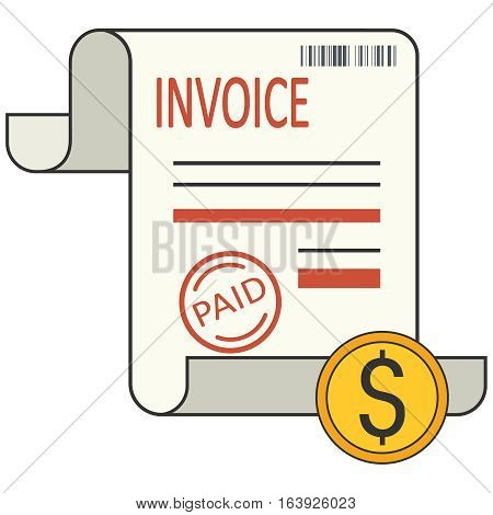 Invoice icon. Vector illustration in flat style