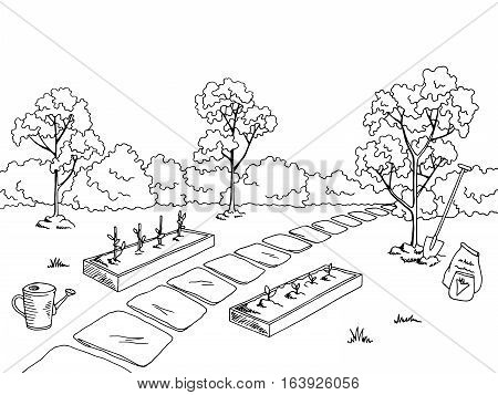 Market garden graphic black white landscape sketch illustration vector