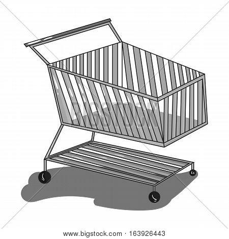 Shopping cart icon in monochrome design isolated on white background. Supermarket symbol stock vector illustration.