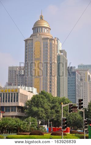 NANJING, CHINA - JUN. 19, 2012: China Citic Bank in Gulou Square in the city center of Nanjing (Southern Capital), Jiangsu Province, China.