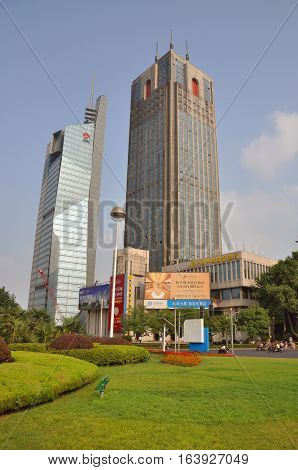 NANJING, CHINA - JUN. 19, 2012: Jiangsu Broadcasting (JSBC) Building and Nanjing Postal Building in Gulou Square in the city center of Nanjing (Southern Capital), Jiangsu Province, China.