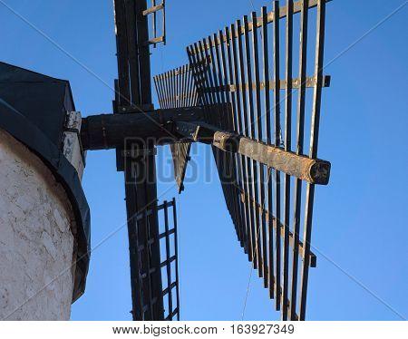 Windmill blades detail in cerro Calderico, Consuegra, Toledo, Castilla-La Mancha, Spain