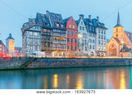 Scenic view of the promenade of St. Nicholas in the quarter Petite France at sunset. Strasbourg. Alsace.