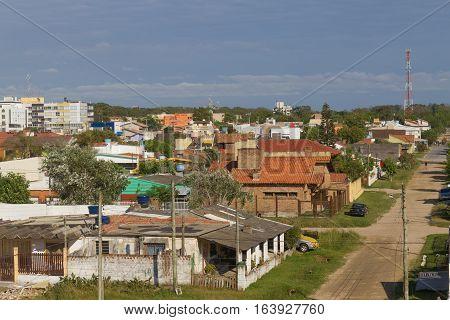 Some small houses in a village in Cassino beach Rio Grande city Rio Grande do Sul Brazil.