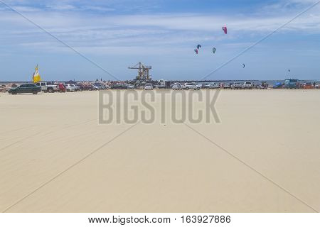 Cars Over The Sand In Breakwaters Of Cassino Beach