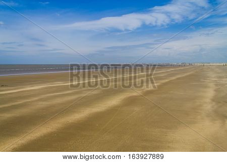 Dry Over Wet Sand  And Waves In Cassino Beach