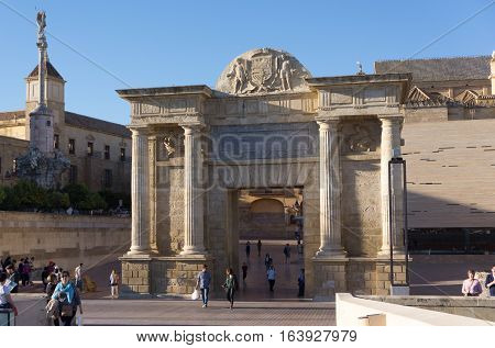 Cordoba, Spain - November 09, 2015: Rear view of the Bridge Gate, located in front of the the Roman Bridge.