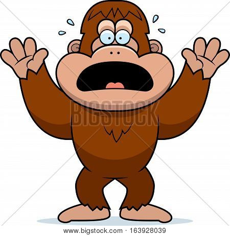 Cartoon Bigfoot Panicking