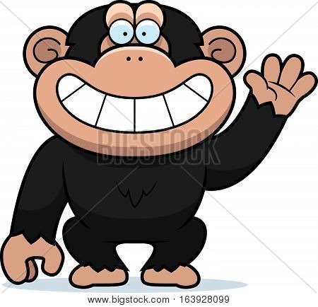Cartoon Chimp Waving