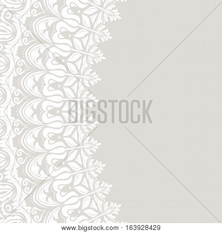 Classic frame with arabesques and orient elements. Abstract fine ornament with place for text. Light gray and white pattern