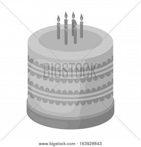 Bicolor cake icon in monochrome design isolated on white background. Cakes symbol stock vector illustration.