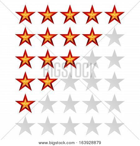 Achievement Vector Stars. For Game And Review Rating. Like Symbol, Succes Sign, Classify Concept, Realistic Element. Isolated On White Background.