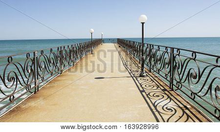 Sea landscape with pier recorded in Saints Constantine and Helena resort Bulgaria.