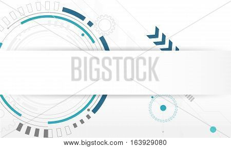 Abstract Circle digital technology background futuristic structure elements concept white background template design