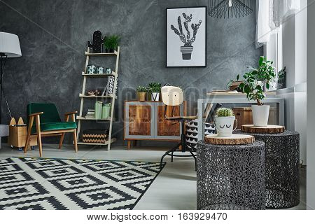 Grey Interior With Metal Accessories