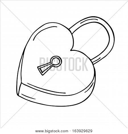 Heart-shaped lock on white background. Vector illustration
