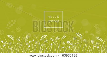 Hello spring banner with flower meadow line border on blurred light green background.