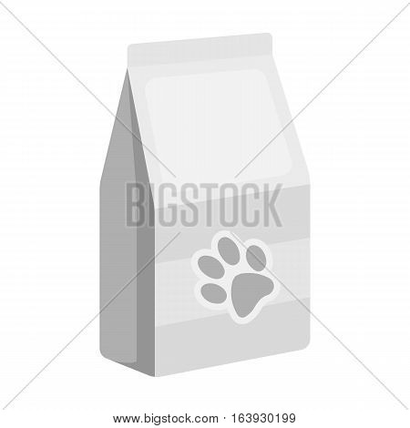 Pet food icon in monochrome design isolated on white background. Veterinary clinic symbol stock vector illustration.
