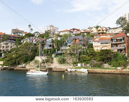 Sydney - 29 February 2016: Sydney Residential areas on the shores of Sydney Harbour and Musgrave street February 29 2016 Sydney Australia