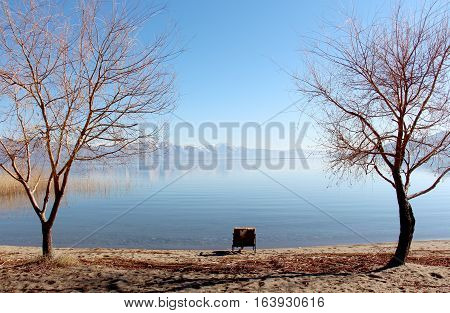 picture of a lake prespa in macedonia in winter