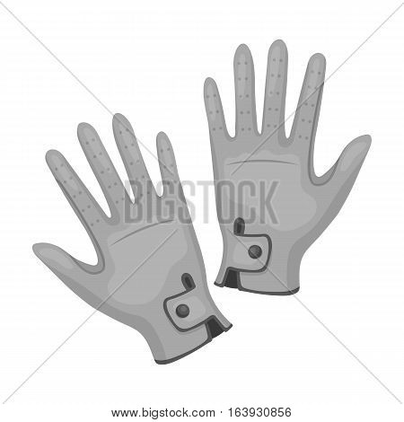 Jockey's gloves icon in monochrome design isolated on white background. Hippodrome and horse symbol stock vector illustration.