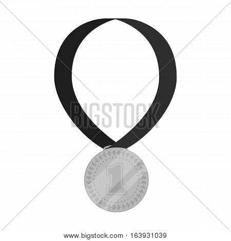 Gold medal for equestrian sport icon in monochrome design isolated on white background. Hippodrome and horse symbol stock vector illustration.