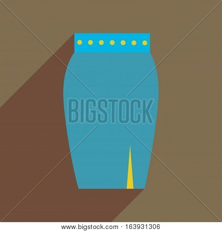 Flat icon with long shadow  women skirt