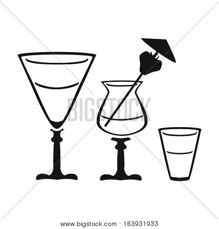 Cocktails icon in black design isolated on white background. Pub symbol stock vector illustration.