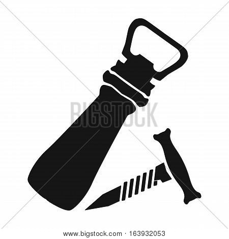 Corkscrew and bottle-opener icon in black design isolated on white background. Pub symbol stock vector illustration.