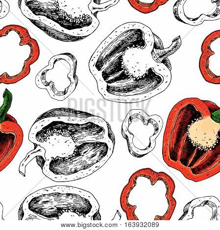 Pepper hand drawn vector seamless pattern. Vegetable engraved artistic style object, full, half and slices. Isolated bell pepper background. Detailed vegetarian food drawing. Paprika Farm market product.