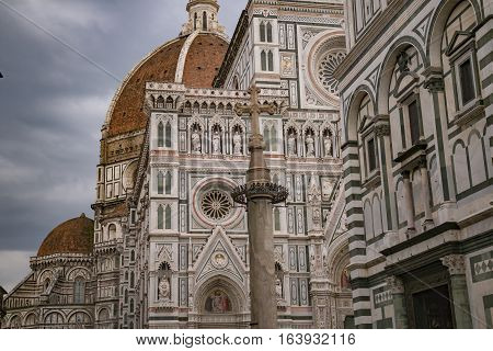 Italy. Florence. View at Santa Maria del Fiore cathedra. Florence is the ancient capital city of the Italian region of Tuscany and of the Metropolitan City of Florence, on the banks of the River Arno.