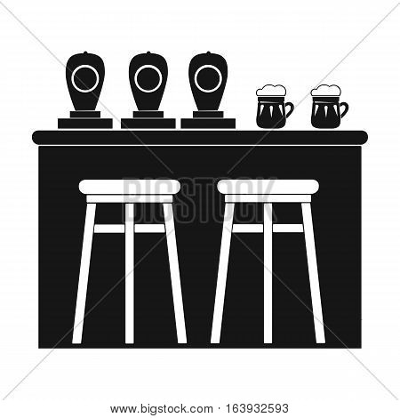 Bar icon in black design isolated on white background. Pub symbol stock vector illustration.