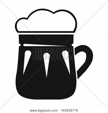 Mug of beer icon in black design isolated on white background. Pub symbol stock vector illustration.