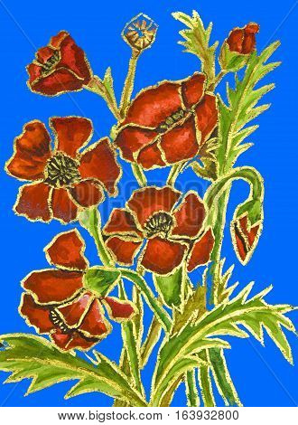 Poppies on blue background hand painted illustration watercolours and gouache.