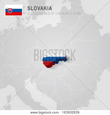 Slovakia and neighboring countries. Europe administrative map.
