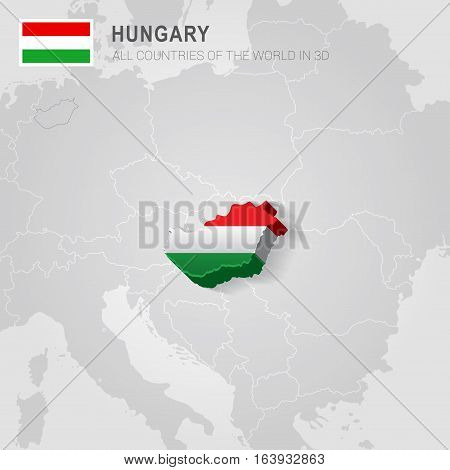 Hungary and neighboring countries. Europe administrative map.
