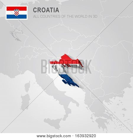 Croatia and neighboring countries. Europe administrative map.