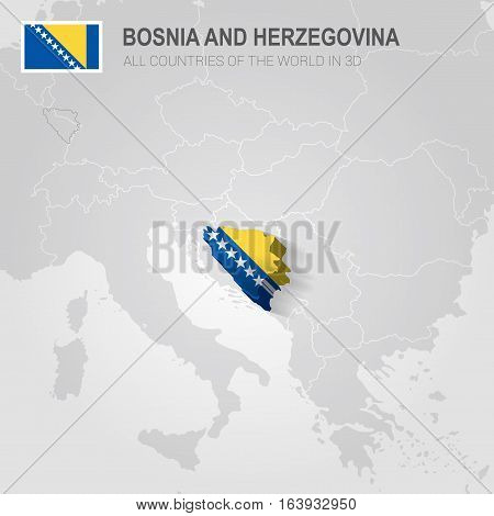 Bosnia and Herzegovina and neighboring countries. Europe administrative map.