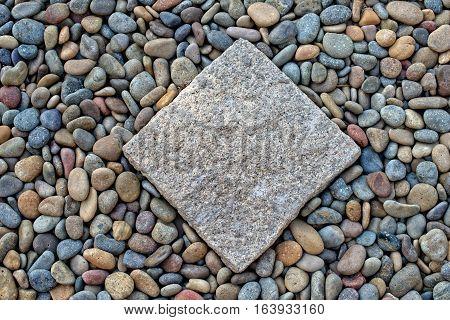 Square stone paving pebble Patio Japanese garden