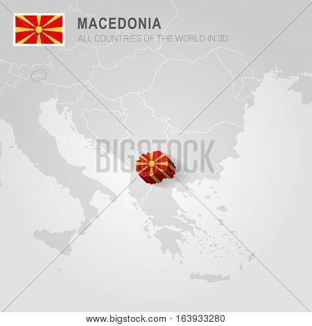 Macedonia and neighboring countries. Europe administrative map.