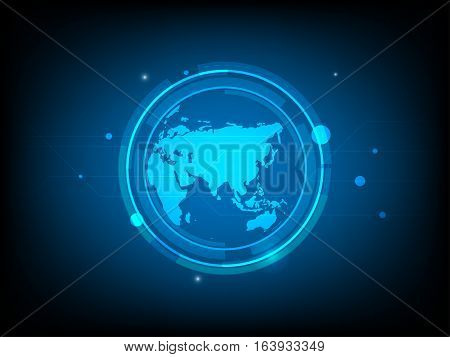 Abstract global world Circle digital technology background futuristic structure elements concept background design