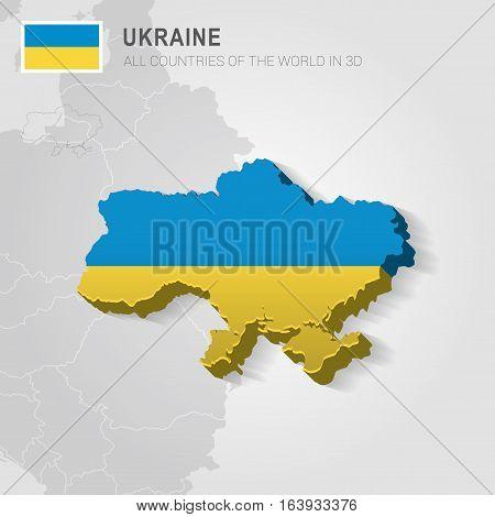 Ukraine and neighboring countries. Europe administrative map.