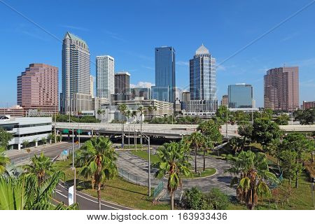 Skyline of Tampa Florida with skyscrapers and office buildings