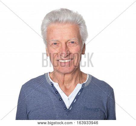 Portrait of happy senior man isolated on white background