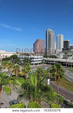 Partial skyline of Tampa Florida with skyscrapers and office buildings vertical