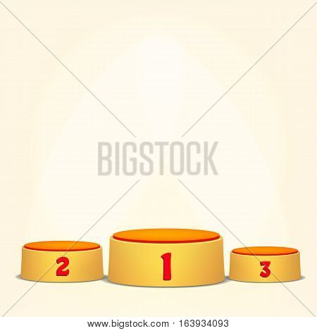 Empty Vector Podium. Round Winners Pedestal Concept With First, Second And Third Place For Award Ceremony. Yellow 3D Stage. Realistic Platform.